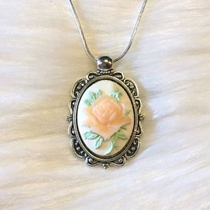 Handmade Rose Cameo Necklace Pastel Pink 925 Chain